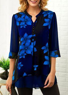 Tops For Women Flower Print Button Detail Split Neck Blouse Trendy Tops For Women, Blouses For Women, Women's Blouses, Formal Blouses, Halloween Fashion, Fashion Outfits, Womens Fashion, Fashion Clothes, Tops Online