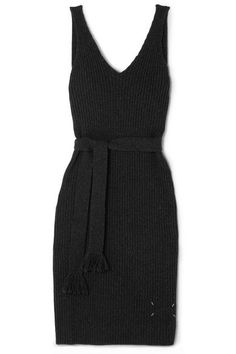 Maison Margiela - Open-back Belted Ribbed Wool Midi Dress - Charcoal