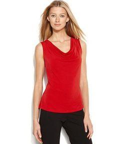 Calvin Klein Sleeveless Cowl-Neck Top - Tops - Women - Macy's