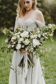 green and white bouquet - photo by Kate Ann Photography http://ruffledblog.com/santa-barbara-bridal-editorial