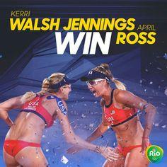 Kerri Walsh Jennings and April Ross just keep WINNING! #Rio2016