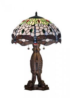 TIFFANY STAINED GLASS HANGINGHEAD DRAGONFLY NIGHT STAND, END TABLE DESK LAMP #MeydaTiffany