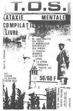 TDS, promo flyer, K7 Ataxie Mentale, 198?, Poitiers.