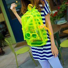 Transparent Clear Plastic Student Shoulders Backpack