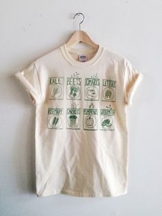 Garden Seeds Screen Printed T Shirt, Vegetable Print by andMorgan on Etsy https://www.etsy.com/ca/listing/253824763/garden-seeds-screen-printed-t-shirt