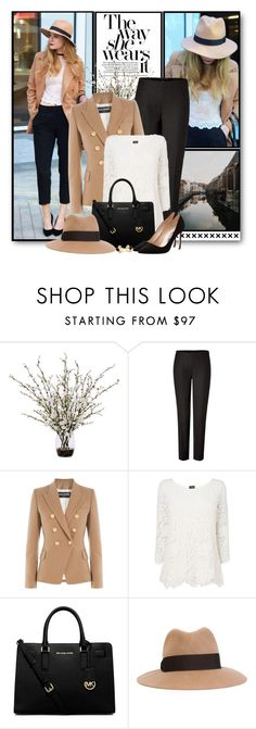 """Lace Blouse & Blazer"" by brendariley-1 ❤ liked on Polyvore featuring moda, Lux-Art Silks, Ralph Lauren Black Label, Balmain, Phase Eight, MICHAEL Michael Kors, Emilio Pucci, Manolo Blahnik, Kate Spade y women's clothing"
