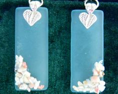 Pretty aqua seaglass earrings decorated with by SuziVeeJewelry, $25.00