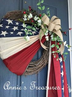 Simple wreath in honor of Old Glory Patriotic Flag US Patriotic Wreath, Patriotic Crafts, July Crafts, Summer Crafts, Diy And Crafts, Patriotic Party, Fourth Of July Decor, 4th Of July Decorations, 4th Of July Wreaths
