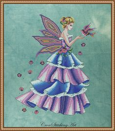 Florence, The Spring Fairy cross stitch chart by Cross Stitching Art. Stitched on 32 count hand dyed Belfast Linen by SIlkweaver Fabrics, stitched with DMC threads, Kreinik metalic threads and Mill Hill beads.