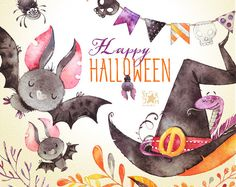Happy Halloween. Watercolor clipart bat witch by StarJamforKids
