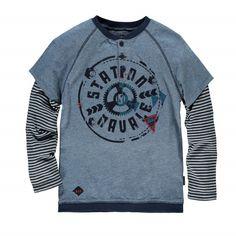 Long sleeve knit T-shirt / Station navale T-shirt à manches longues gris Souris Mini