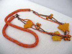 Long Beaded Necklace  Crocheted Orange Seed Bead by GrandFernAlley, $51.00