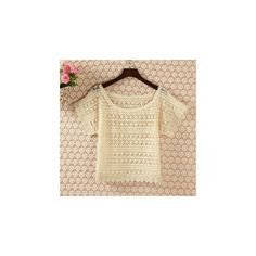 Short-Sleeve Cropped Lace Top ($14) ❤ liked on Polyvore featuring tops, women, beige lace top, short sleeve lace top, lacy tops, cut-out crop tops and beige crop top