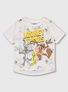 Fans of all things Looney Tunes will love our white t-shirt. With a central Tweety Pie, Tasmanian Devil, and Bugs Bunny graphic, it is crafted from pure cotton and has short sleeves with a classic crew neck. Team with denim and trainers for a cute look this season. Looney Tunes graphic  Short sleeves  Crew neck  Pure cotton  Keep away from fire