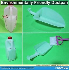 Take a plastic jug and cut the top of handle so that it detaches from top of the jug. Cut from bottom of handle in the shape of an iron or square shovel depending on your jug size – all the way to the bottom, you will be left with a mini dustpan.