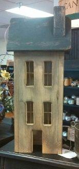 Primitive Salt Box House, Lights up. Available at Bushel Basket Candle Co.