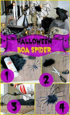 How to make spider from a feather boa- perfect Halloween craft. #allthingshome