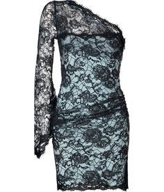 Black-Azure Lace-Overlay One Shoulder Dress by Emilo Pucci