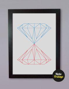 Kissing Diamonds, geometric, minimalist printable Poster.