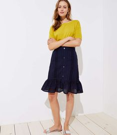 Shop LOFT for stylish women's clothing. You'll love our irresistible Eyelet Button Front Ruffle Skirt - shop LOFT.com today!
