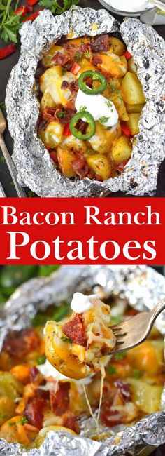 Foil wrapped potatoes are tender and loaded with cheese, bacon and peppers. Perfect side dish to your summer bbq's and camping. Side Dishes Easy, Vegetable Side Dishes, Side Dish Recipes, Vegetable Recipes, Potato Dishes, Potato Recipes, Foil Packet Dinners, Foil Dinners, Foil Packets