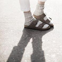 Birkenstocks with socks.