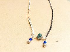 Asymmetrical necklace mixed metal look copper by NanabojoDesigns, $28.00