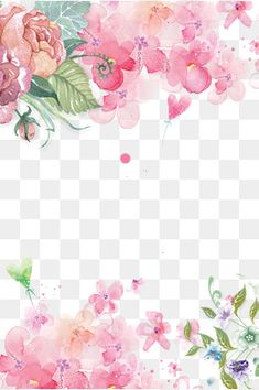 Fundo floral decorativo Pintado à mão de Flores cor - de - Rosa, Pintados à Mão Flor, Flores Cor - De - Rosa Decoração, Decoração Com Flores Pintadas à Mão PNG e PSD