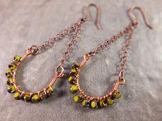 Copper horseshoe hoop earrings boho beadwork by BirdandBeed