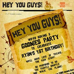 Pirate Party - Goonies Themed Party Invitation - DIY Printable - Birthday Invite - Made to Order - Printed Invitations Pirate Party Invitations, Wedding Party Invites, Printable Birthday Invitations, Wedding Dj, Party Printables, Goonies Party, Pirate Birthday, Diy Party, Party Ideas