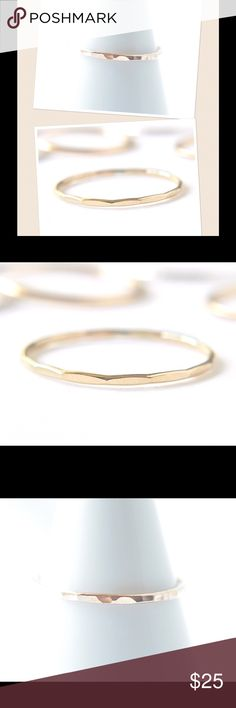 Gold Stacking Ring A gold faceted stacking Ring made of 14k yellow gold filled. Available in sizes 2-13. nejd Jewelry Rings
