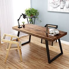 """Tribesigns 55"""" Solid Wood Computer Desk Rustic Desks with Heavy-Duty Metal Base Simple Retro Style Office Desk Workstation (Espresso-Wengue Finish)"""