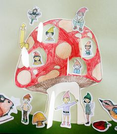 Woodland Fairy and Gnome Craft Kit for Kids ages 5 and up, Peekaboo Mushroom House DIY Paper Craft Kit. $15.00, via Etsy.