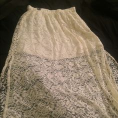 White lace skirt Floor length with a skit in both sides Abercrombie & Fitch Skirts