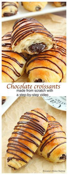 Layer upon layer of light, buttery flaky pastry filled with rich chocolate and drizzled with more chocolate, these made from scratch chocolate croissants are simply mind-blowing! No butter folding or chilling the dough several times needed! by viola Just Desserts, Delicious Desserts, Dessert Recipes, Yummy Food, Appetizer Recipes, Pastry Recipes, Baking Recipes, Kitchen Recipes, Best Pastry Recipe