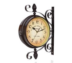 Fashion Rotating Rustic Wrought Iron Double Face Wall Clock Vintage Silent Movement Art Decorative