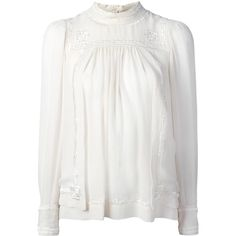 Isabel Marant Skara blouse ($615) ❤ liked on Polyvore featuring tops, blouses, white, scalloped blouse, key hole top, white blouse, white long sleeve blouse and white long sleeve top