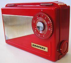Beautiful Harpers GK 301 PRE Transistor Portable Tube Radio Ruby RED Bakelite