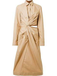 Jil Sander twist detail shirt dress, Women's, Size: 38, Brown, Cotton