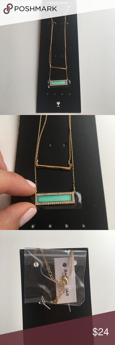 🎈SALE🎈NWT layered necklace w/bar pendants 🌟 NWT Baublebar layered necklace with two bar pendants 🌟One minimal metallic bar and the second one is turquoise with a💎sparkly💎 frame. Length can be easily adjusted. ✨ Baublebar Jewelry Necklaces