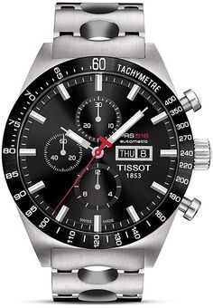 Tissot PRS516 Men's Black Automatic Chronograph Steel Watch, 45mm