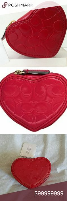 COACH EMBOSSED ❤HEART❤ JEWELRY CASE/POUCH COACH~ LUSCIOUS lipstick red💄patent heart shaped embossed signature logo jewelry case.  ADORABLE❗...with a zipper that opens to a satin lined drawstring pouch to hold your jewelry and a heart shaped mirror for that added touch of perfection.💋  Great for travel...tuck this in your purse so you keep your valuables with you at all times.  LOVE THIS!!! 😍  #F65385 COACH  Accessories