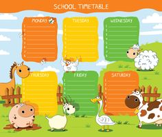 Find School Timetable Funny Farm Animals stock images in HD and millions of other royalty-free stock photos, illustrations and vectors in the Shutterstock collection. Thousands of new, high-quality pictures added every day. Timetable Template, School Timetable, Funny Farm, Cute Horses, Little Learners, Newsletter Templates, Farm Animals, Planer, Vector Art