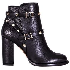 Valentino Black Rockstud Ankle Boots ($1,400) ❤ liked on Polyvore featuring shoes, boots, ankle booties, botas, sapatos, valentino, black studded booties, black ankle booties, short leather boots and leather boots