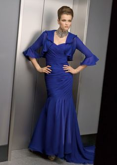 MZ0417 Royal Blue Chiffon Sex Mermaid Cap Sleeves Mother of the Bride Dresses with Free Jacket $145.69
