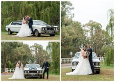 Bride & Groom Portraits with the vintage GT Limo near the Willow Trees at Redcliffe on the Murray in Pinjarra. Photography by Trish Woodford Photography Rainy Wedding, Groomsmen Suits, Rustic Wedding Venues, Father Daughter Dance, Happy Marriage, Limo, Family Photographer, Bride Groom, Trees