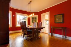 Dining Room Decoration With Green Walls And Red Painting Picture Impressive Red Wall Dining Room Inspiration