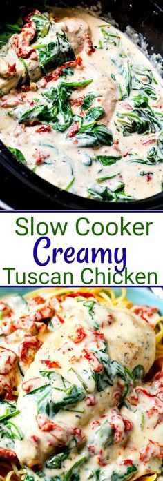 Slow Cooker Creamy Tuscan Chicken with sun-dried tomatoes and spinach Vegetarian Recipes Dinner, Healthy Diet Recipes, Best Dinner Recipes, Vegan Recipes, Tuscan Chicken, 3 Ingredient Recipes, Favors, Slow Cooker, Plant Based