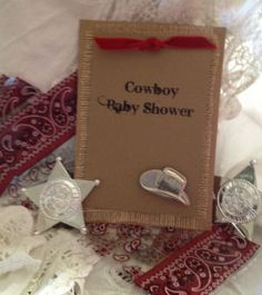 Simply the cutest Cowboy baby shower theme ideas. Find all the tips you'll need to host a fabulous Little Cowboy Shower. Baby Shower Host, Cowboy Baby Shower, Baby Shower Games, Baby Boy Shower, Baby Showers, Cowboy Invitations, Handmade Invitations, Baby Shower Invitations, Invites