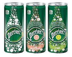 Nestlé Waters Canada unveils Perrier Slim Cans. Water Packaging, Beverage Packaging, Brand Packaging, Packaging Design, Natural Mineral Water, Sparkling Drinks, Canada, Bottle Design, Natural Flavors